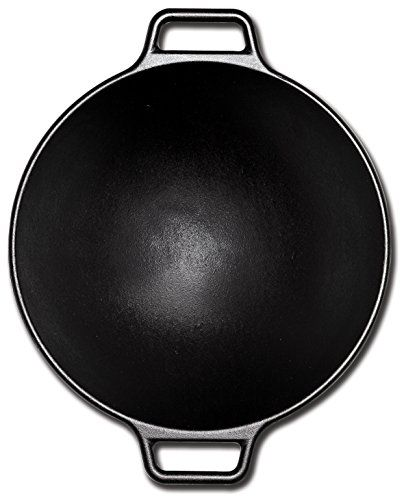 Lodge Pro-Logic P14W3 Cast Iron Wok, Black, 14-inch  With its contemporary style, curved lines and legendary cooking performance, the Lodge 14″ Cast Iron Wok is an over-sized vessel that is the perfect size for cooking generous amounts of your favorite stir-fry recipes. The cast iron properties of this wok provide superior heat retention and allows for even heating throughout, ensuring your food is properly cooked. Designed with two assist loop handles which offer a safe, secure grip..