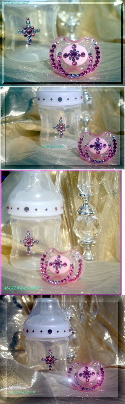 Pacifiers and Soothers 32872: Baby Shower Gifts Pacifier Baby Bottle Baptism Set Swarovski -> BUY IT NOW ONLY: $65 on eBay!