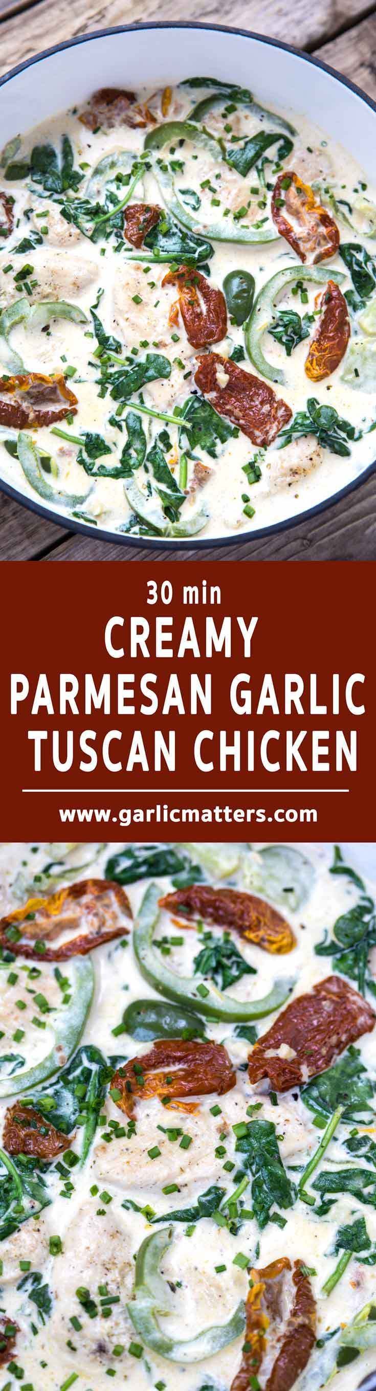 30 min Creamy Tuscan Parmesan Garlic Chicken Recipe is my family's favorite - perfect for lunch or dinner with pasta or couscous.