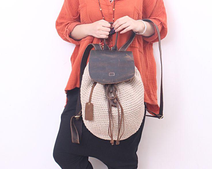 悅食錦衣 女包 棉麻手工編織包鉤編包 棉麻線雙肩包桶包文青包-淘寶台灣,萬能的淘寶