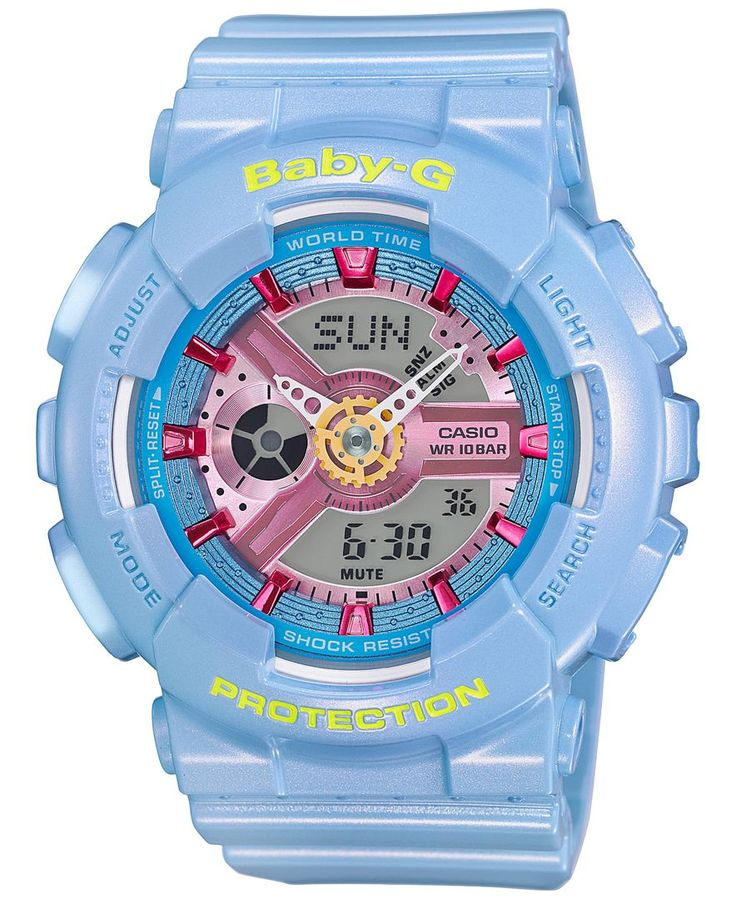 A beautiful baby blue color throughout is highlighted with a pretty pink in this durable, multi-tasking watch from Baby-g. | Blue resin strap | Rounded case, 46x43mm | Blue dial with pink stick indice
