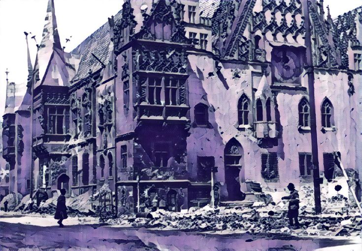 The ruined town hall in Breslau in 1945. After bombarding Breslau overnight, the Red Army reduces its artillery fire somewhat in the morning but then resumes it. German troops acting on orders from above attempt to celebrate Hitler's birthday with food, alcohol and propaganda. Ambushes on the roads cause Soviet casualties.