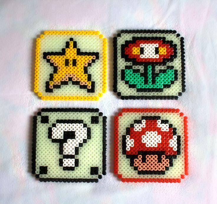 Mario coasters hama perler beads by luna