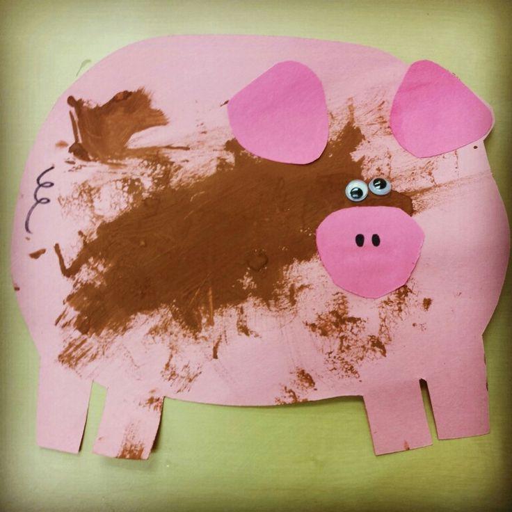 Piggy with mud craft for preschoolers farm animals art for Farm animal crafts for preschool