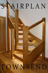 Oak staircase with glass balustrade and led lighting