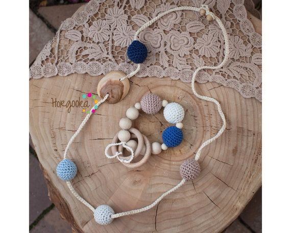 teething necklace and bracelet set ecojewelry natural by Horgooka, $38.00