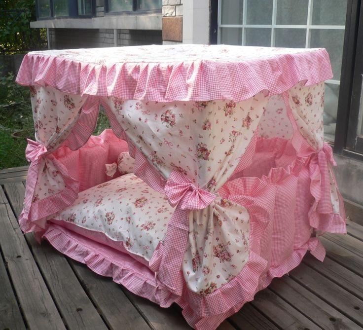Freeshipping cama do cão pet fornecimentos! Cama de animais de pelúcia kennel8 ninho cão princesa cama removível e lavável rosa luxo pet cama US $112.00 - 185.00