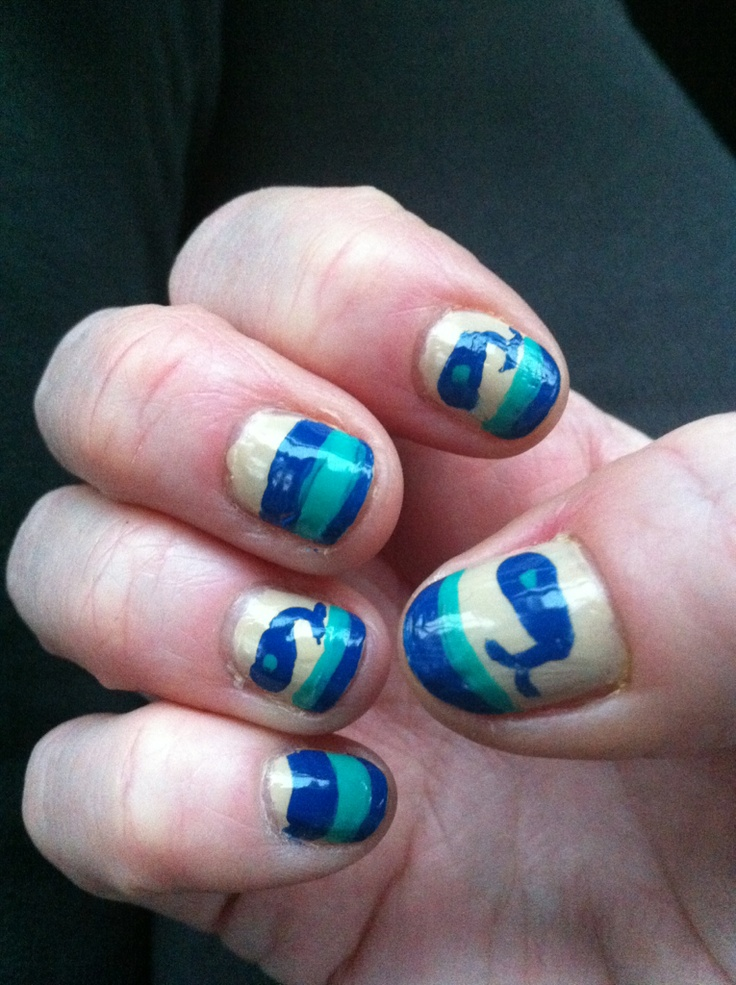 Nail art: Whale nails | By Me | Pinterest