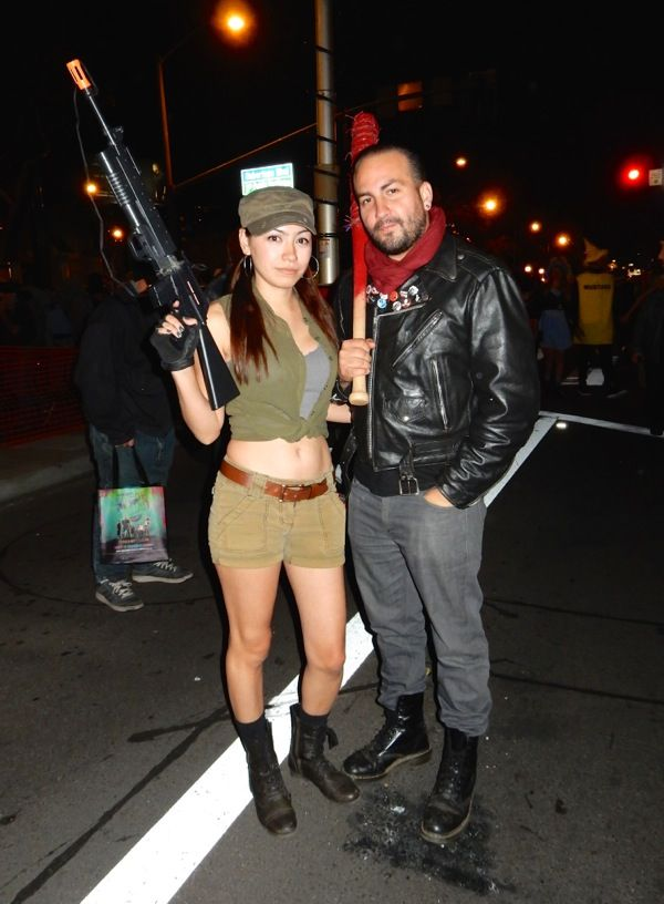West Hollywood Halloween The Walking Dead Rosita and Negan costumes