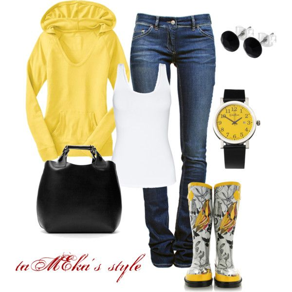Yellow & Black Rain Outfit, created by taMEka on Polyvore