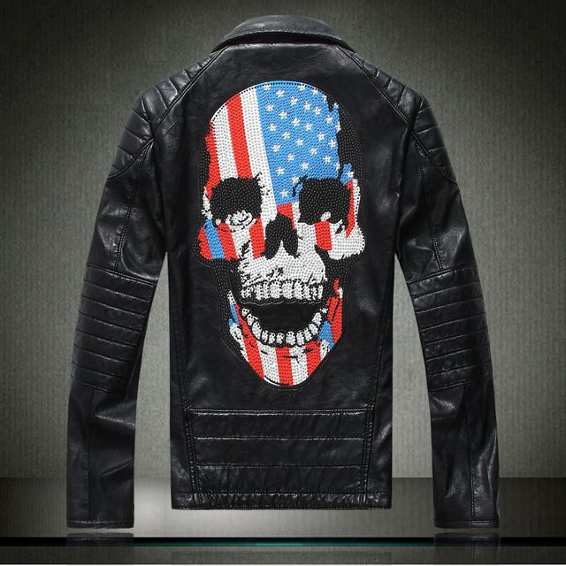 Male turn-down collar genuine leather clothing outerwear autumn personality rhinestones skull design short slim motorcycle US $85.19 /piece  CLICK LINK TO BUY THE PRODUCT  http://goo.gl/oYWEYs
