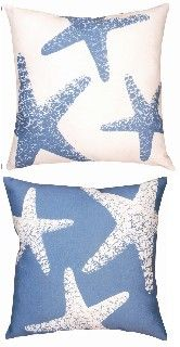 Indoor Outdoor Beach Decor Pillow - Nautical Starfish  - Bluebarnacles.com $28.
