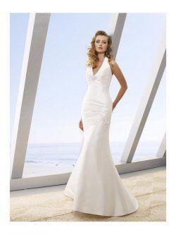 Cuello en v piso de longitud vestidos de sirena de novia para playa