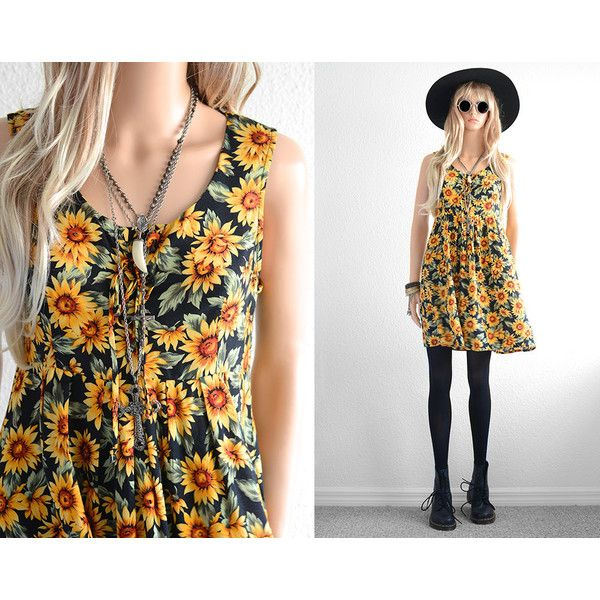 90s Floral Dress 90s Grunge Sunflower Dress Floral Mini Dress Rayon... ❤ liked on Polyvore
