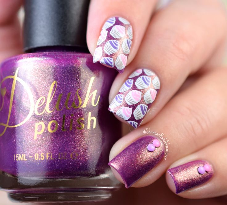 DP 04 High & Mightea Stamping Plate: Cupcake pattern stamping over Delush Polish's Love at First Bite