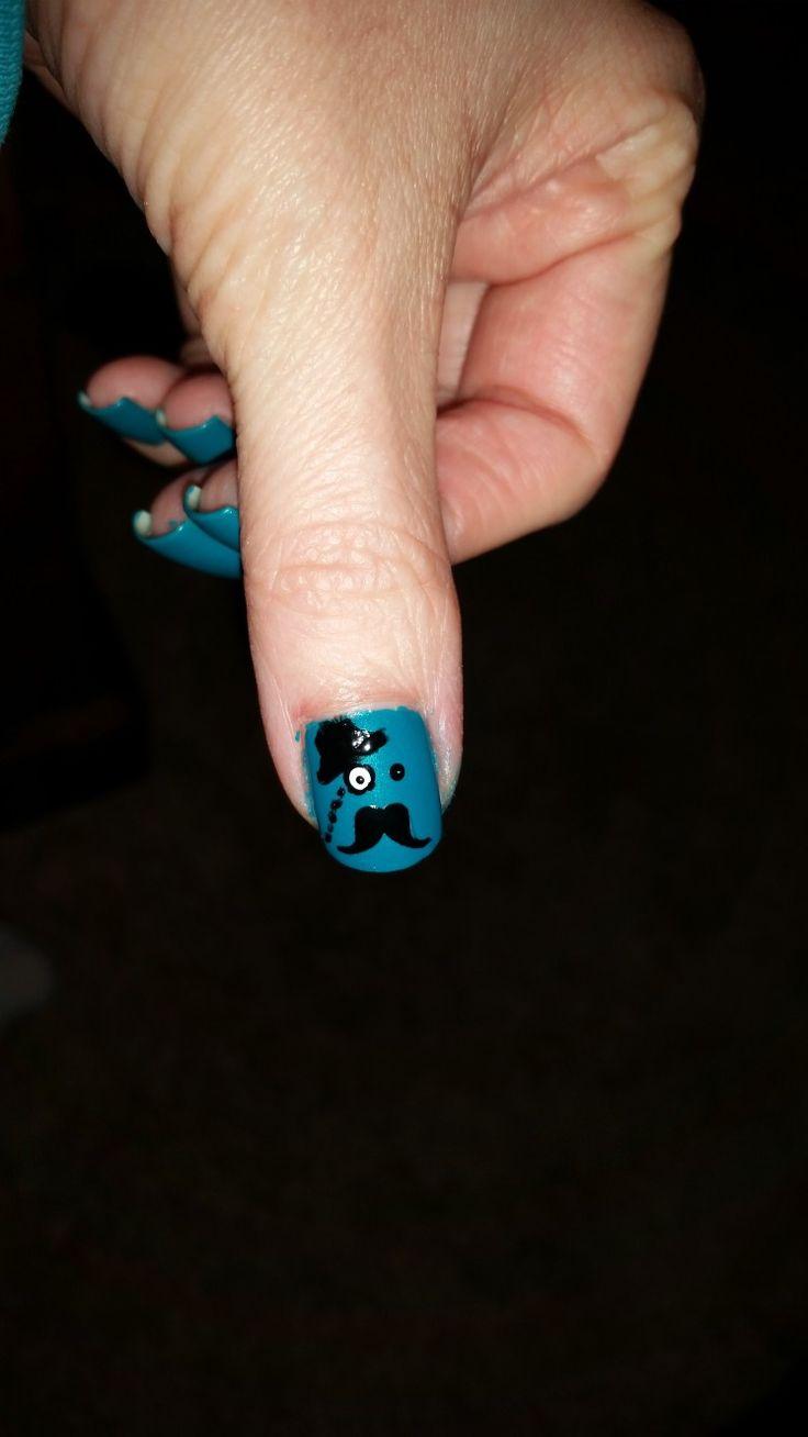 Mustache nail art manicure