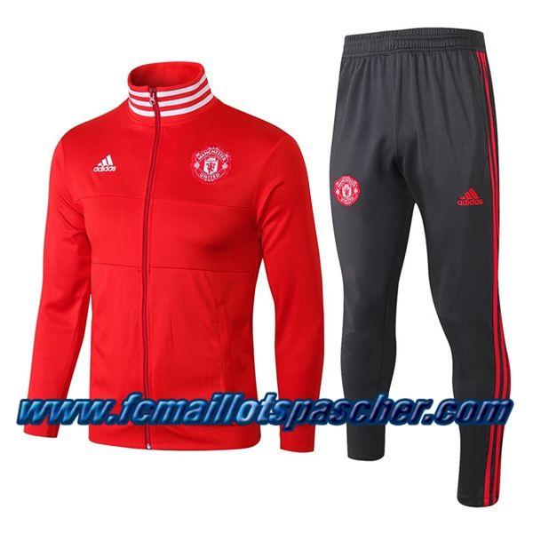Ensemble Survetement Veste De Foot Manchester United Rouge