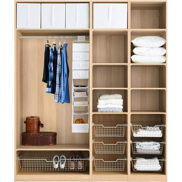 IKEA PAX Wardrobe with interior organizers, white stained oak effect,... (10.264.075 IDR) ❤ liked on Polyvore featuring home and home improvement