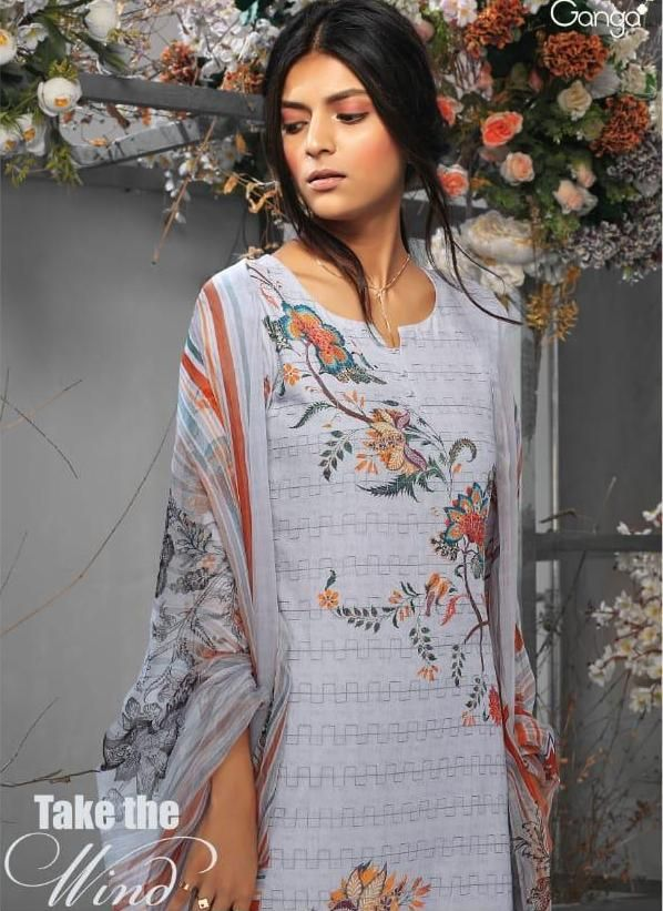 Ganga Take The Wind Designer Floral Printed Embroidered Lawn Cotton