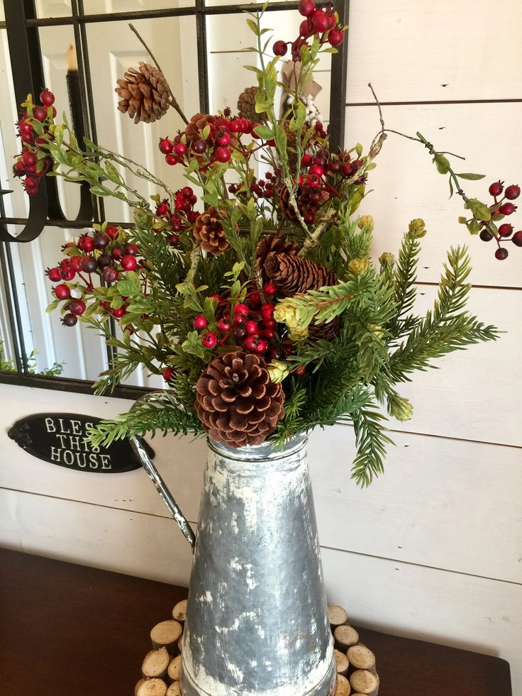 Excited to share the latest addition to my #etsy shop: Winter arrangement, Christmas arrangement, pine arrangement, farmhouse Christmas decor, rustic Christmas decor, Christmas door wreath, gift