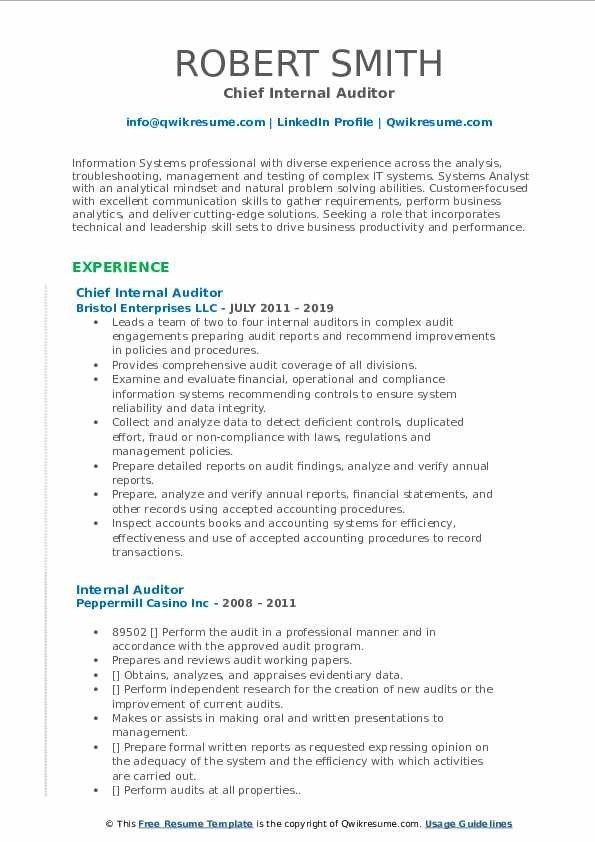 Internal Auditor Resume Samples Qwikresume Riwayat Hidup Blog