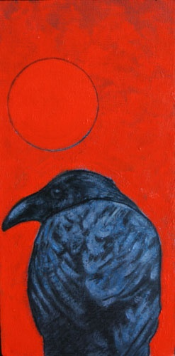 Nocona J Burgess - Burns Red Raven, acrylic on canvas