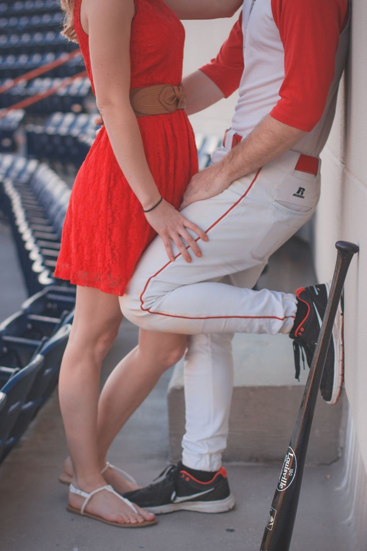 Baseball Engagment photo should be taken on other side to show off ring, cute though!