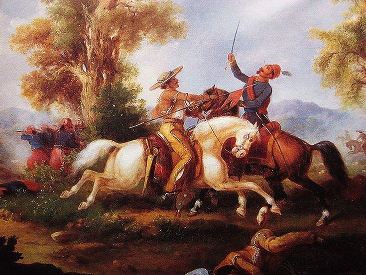 """Lancero derriba a un oficial francés,"" pintura de 1875 por Manuel Serrano. ""Lancer beats down a French official,"" 1875 painting by Manuel Serrano."