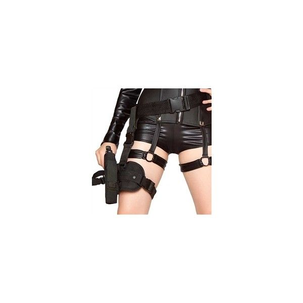 Leg Gun Holster for Costumes G4333, Toy Gun ($10) ❤ liked on Polyvore featuring costumes, weapons, belts, army halloween costumes, army costume, cop halloween costume, police woman costume and police officer halloween costume