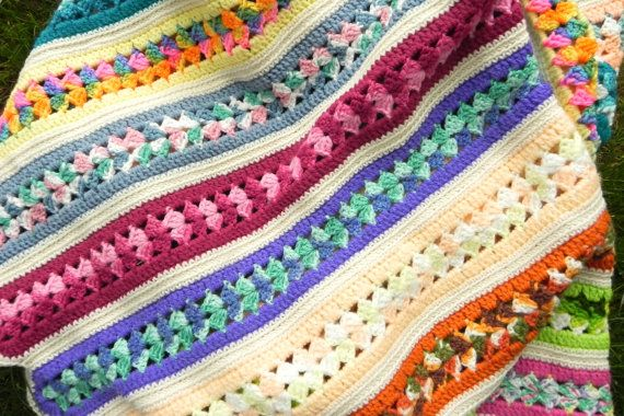 Colorful Crocheted Afghan In Multi Color Stripe Pattern