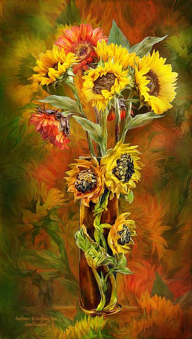 Poppies In Poppy Vase by Carol Cavalaris. Prints available at Fine Art America. Big bold sunflowers Bright happy faces Like capturing The last blooms Of Autumn sunshine Inside a sunflower vase.  Sunflowers In Sunflower Vase prose by Carol Cavalaris  This artwork of giant yellow and orange sunflowers inside of a sunflower vase is from the Flowers In Fancy Vases Collection by Carol Cavalaris.
