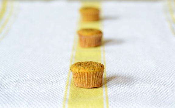 Perfect Paleo Lemon Poppyseed mini-muffins; made with coconut flour, they're nut-free, grain-free, gluten-free and flavored with healthy lemon zest.