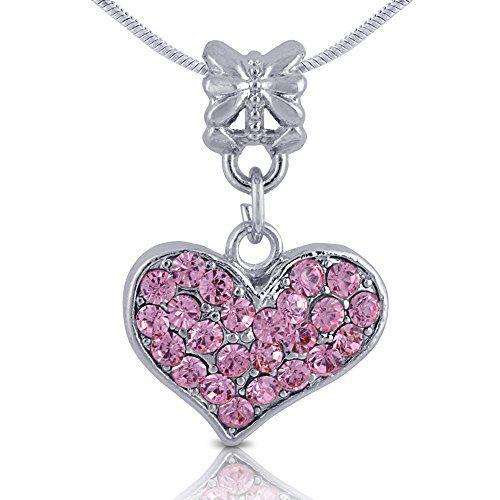 Silver Tone Heart Necklace with Pink Rhinestones - Jewelry for Teen Girls Girlfriend Kids Children