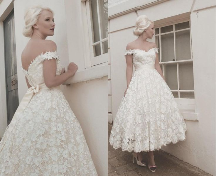 2016 full lace wedding dresses custom size calf off for Calf length wedding dresses
