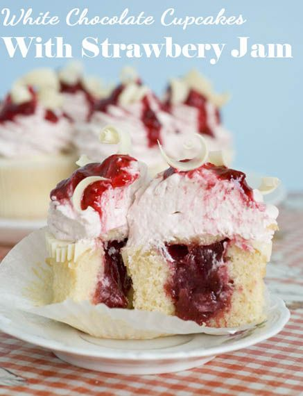 White Chocolate Strawberry Cupcakes by OMG Chocolate Desserts