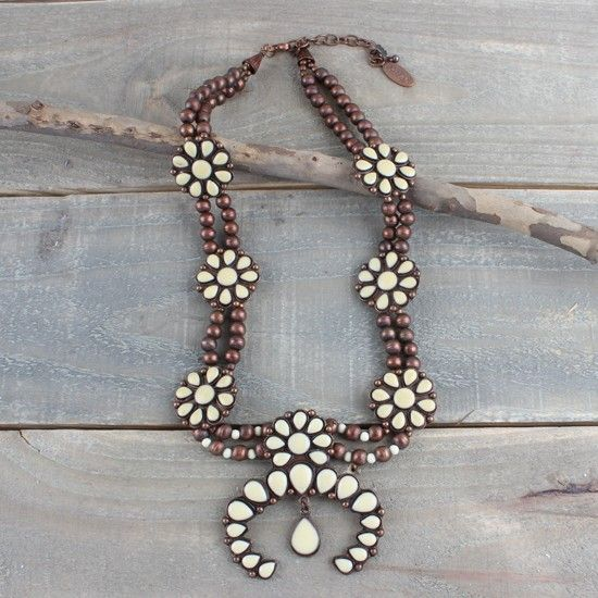 Copper+and+Cream+Squash+Blossom+Necklace