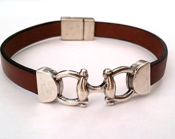 Western Bracelet Equestrian Leather Bracelet w Cowboy Horse Bracelet Horse Head and Magnetic Silver Clasp