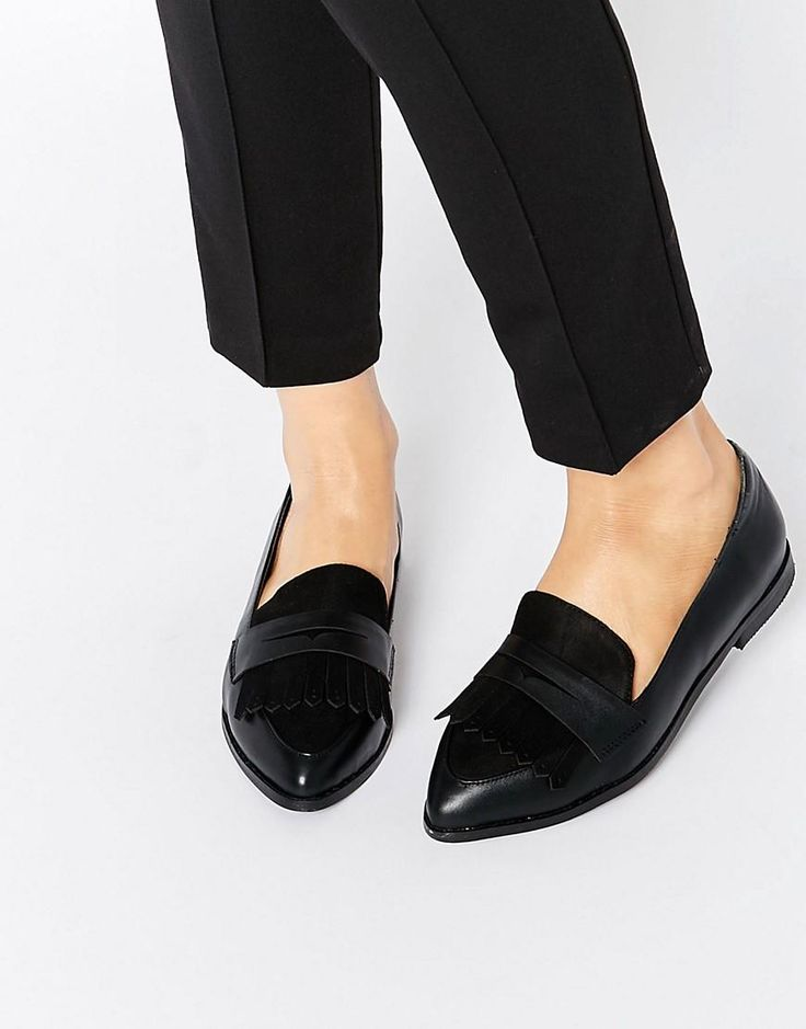 Lost | Lost Ink Berly Black Fringed Loafer Flat Shoes at ASOS