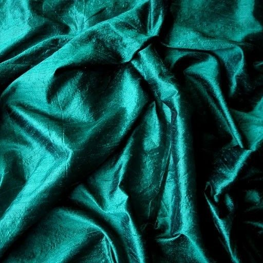 Dark Peacock Green 100 Percent Pure Silk Dupioni by FabricMart