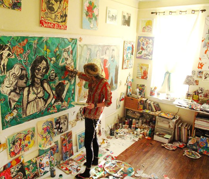 Micci Cohan Painting at her Studio...