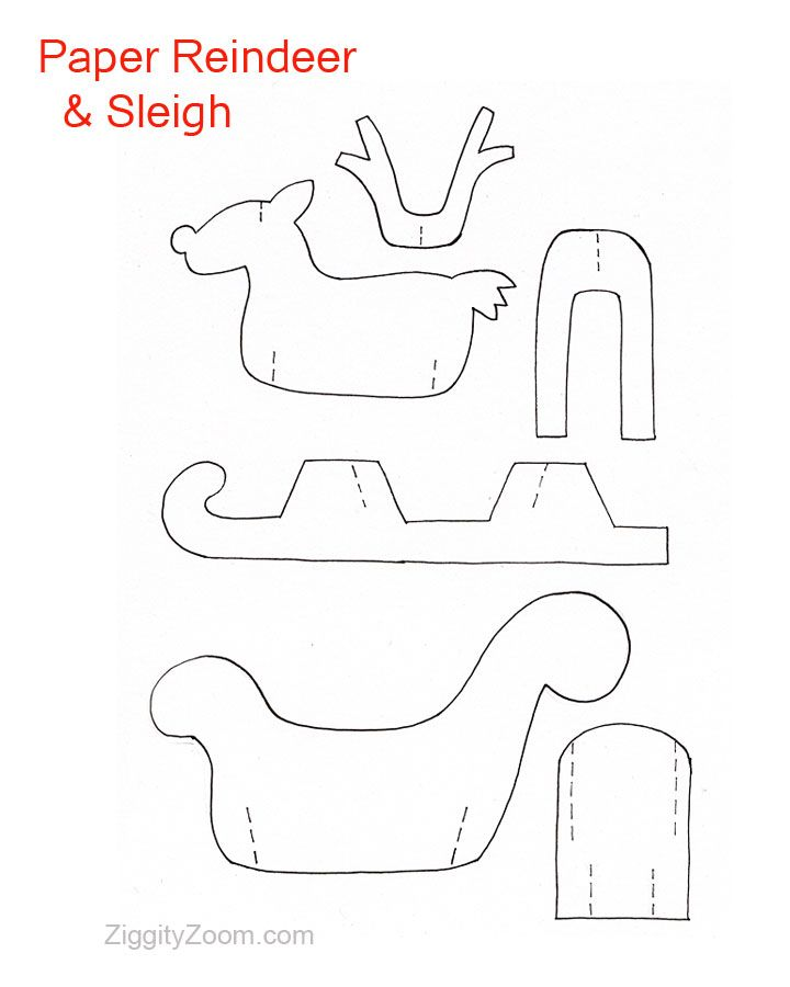 Diy paper reindeer sleigh paper reindeer and christmas for Reindeer cut out template