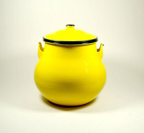 Vintage Enamel Pot Vintage Enamelware Yellow by DKVINTAGEGALLERY