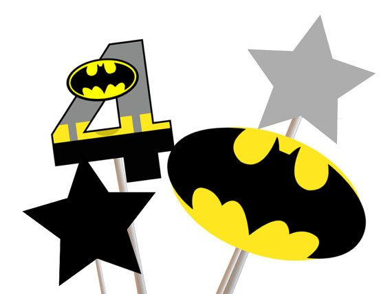 Superhero Batman Centerpiece Batman Party by TheLastCandy on Etsy, $1.00
