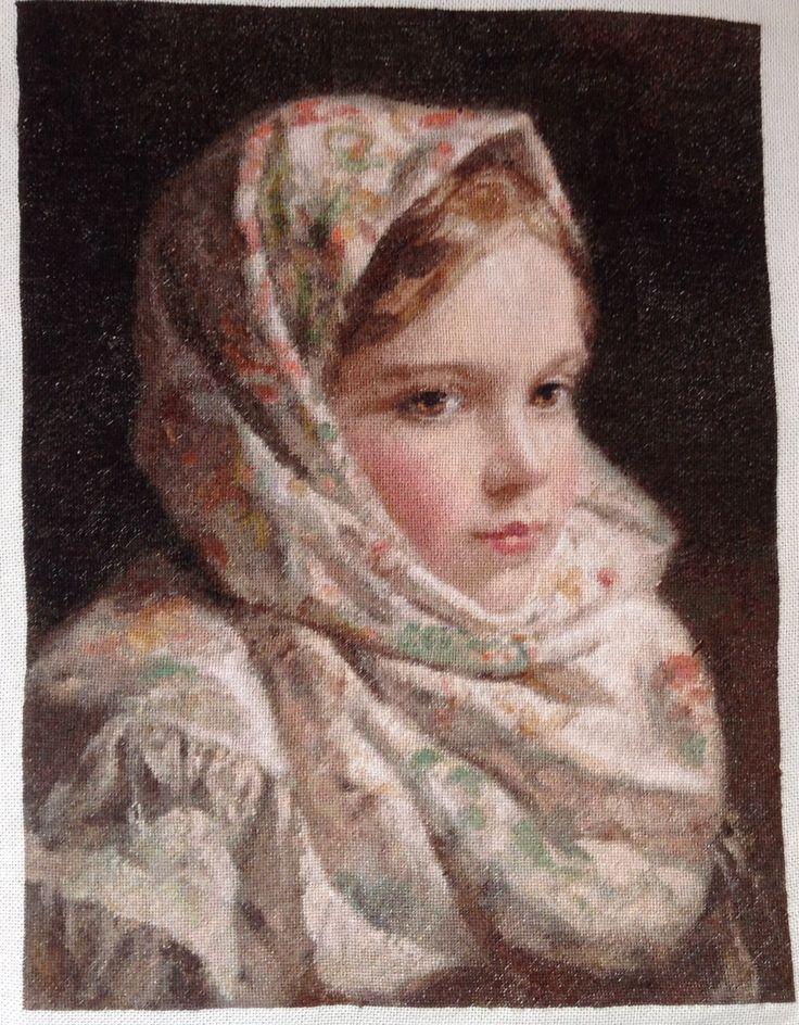 801 Девочка с собачкой Гобелен Классик - набор для 48