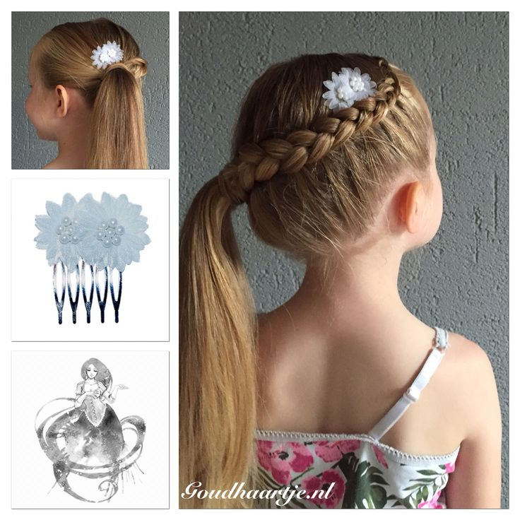 Simpele dutch braid into a ponytail with two pretty hair combs from Goudhaartje.nl I coverd the hair elastic with a hair strand using the Topsy Tail from Goudhaartje.nl #braid #dutchbraid #ponytail #hair #hairstyle #hairaccessories #haircomb #hairflower #vlecht #opvlecht #staart #paardenstaart #topsytail #haarkam #haarkammetje #haarbloem #haarstijl #haaraccessoires #goudhaartje