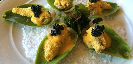 ARTICHOKE OYSTERS at Crossroads Kitchen - artichoke purée / crispy oyster mushroom / yellow tomato béarnaise / kelp caviar