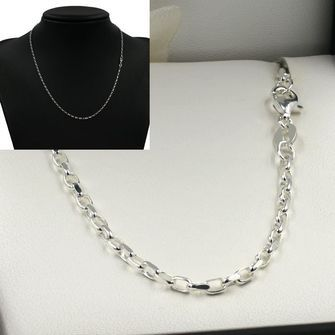 50cm Sterling Silver DC Oval Belcher Chain Necklace - SN-BO1D