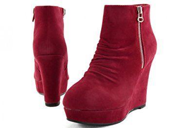Damenschuhe High Heels Stiefel Stiefeletten Schuhe Wildlederoptik Z7773KA, Präzise Farbe:Rot;Schuhgröße:EUR 37