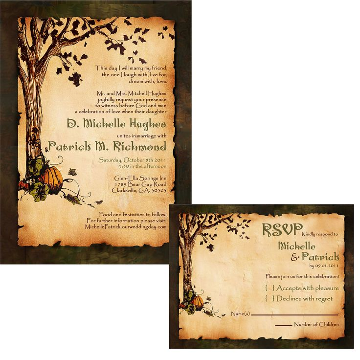 Fall Tree Bride Shower Invitations