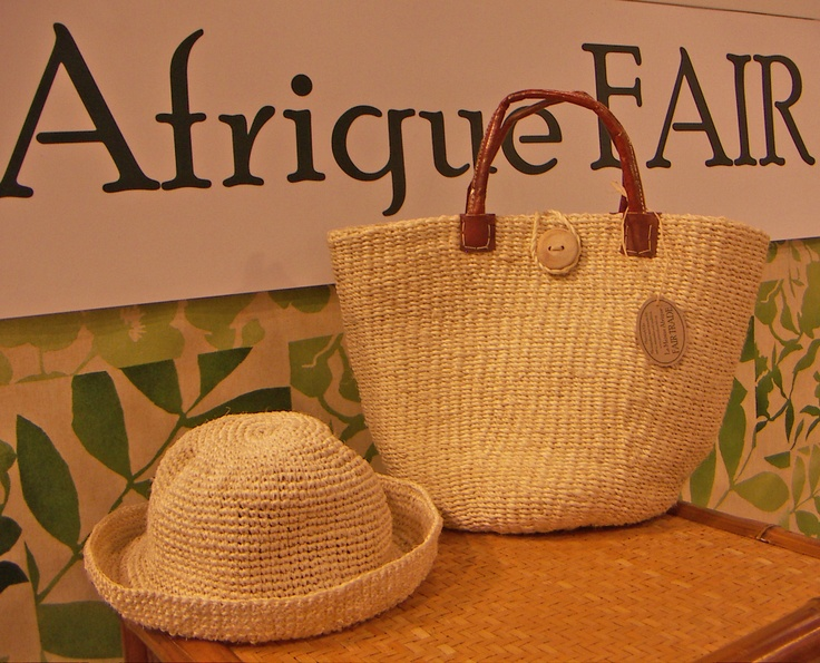 Hat and bag handcrafted of sisal. La Maison Afrique FAIR TRADE stand at CIFF.
